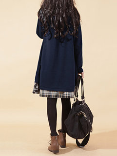Casual Plaid Stitching Long Sleeve Lapel Fake-Two Piece Shirt Dress For Women