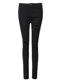Casual Pure Color Mid-Waist Hole Skinny Ripped Pencil Pants For Women
