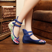 Floral Embroidery Chinese Knot National Wind Lace Up Flat Shoes