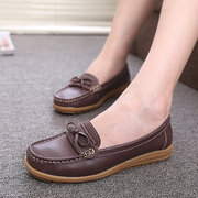Bowknot Slip On Leather Soft Flat Casual Lazy Loafers