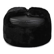 Men Leather Earflap Earmuff Trapper Ruissan Cap Faux Fur Plush Linen Military Bomber Hat