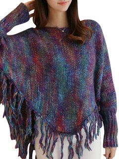 Fashion Loose Round Neck Multi-color Tassels Hem Knit Pullover For Women