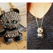 Сплав Симпатичные Кристалл Panda ожерелье