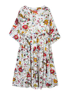 Vintage Women Floral Printing Elastic Waist Pleated Two-Piece Dress