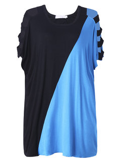 Casual Women Batwing Sleeve Color Contrast Off-Shoulder Blouse
