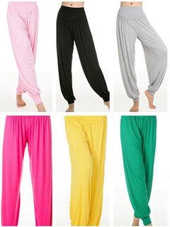 Women Cosy Loose Dancing Fitness Pants Breathable Pure Color Yoga Sweatpants
