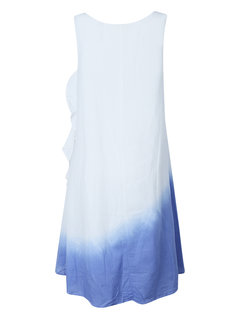 Casual Women Gradient Color Fake Two-piece Cotton Linen Dress