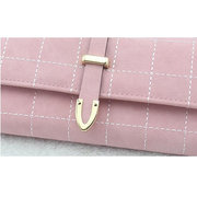 Women PU Leather Plaid Wallet Three Folds Frosted Card Holders Casual Clutch