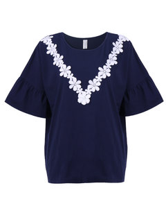 Casual Women Lotus Sleeve Lace Patchwork T-Shirt