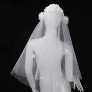White Beige Two Layers Of Petals Bridal Veil