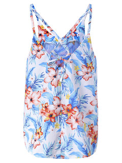 Women Strap Backless Floral Printed Split Sexy Tank Tops