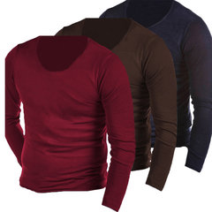 Casual Fashion Stylish Thin Tops Slim Fit Solid Color Long Sleeve T-shirts For Men