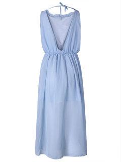 Women Sleeveless High Waist Backless Split Chiffon Maxi Dress