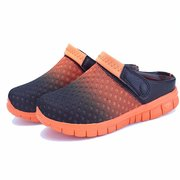 Men Gradient Mesh Breathable Two Way Wearing Slip On Flat Beach Sandals