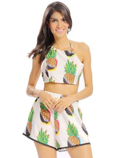 Women Sexy Crochet Lace Pineapple Pattern Halter Backless Suit