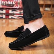 Men Lazy Seude Moccasin Shoes Soft Round Toe Casual Driving Shoes