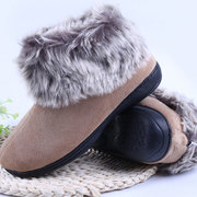 Pure Color Furry Warm Soft Ankle Slip On Casual Boots
