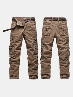 Mens Casual Cargo Pants Relaxed Fit Solid Color Multi-pockets Outdoor Cotton Trouser