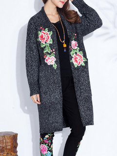 Ethnic Vintage Embroidery Long Sleeve Cotton Cardigan For Women