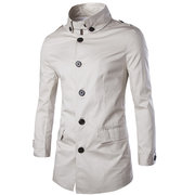 Mens Spring Fall Brief Style Outwear Turndown Collar Single-breasted Long Jacket Coat