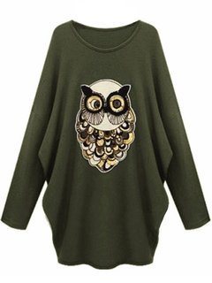 Plus Size Women Sequins Animal O-Neck Long Sleeve T-shirt