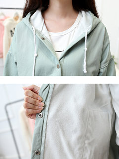 Women Long Sleeve Hooded Velvet Pure Color Casual Coat