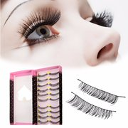 10 Pairs Black Natural Long Thick Handmade False Eyelashes Makeup