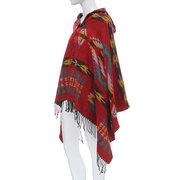 Bohemian Hooded Cape Women Eometric Pattern Fringe Shawl Scarf