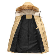 Plus Size Winter Casual Outdoor Thicken Warm Rib Cuff Fur Hooded Jacket for Men