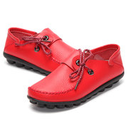 Big Size Leather Lace Up Moccasin Flat Casual Shoes For Women
