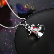 Christmas Jewelry Necklace Silver Bell Star Oil Drip Necklace