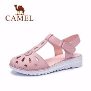 Camel Flower Leather Hollow Out Breathable T Strap Hook Loop Flat Sandals