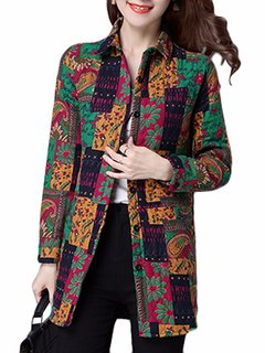 Casual Floral Printed Color Block Turn-Down Collar Button Thick Coat For Women