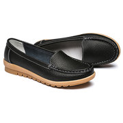 Leather Pure Color Flat Soft Sole Breathable Slip On Loafers