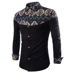 Mens Spring Fall Floral Pattern Retro Printing Turndown Collar Long Sleeve Casual Shirts