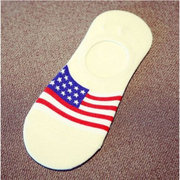 5 Pairs Mens Flag Printing Cotton Silicone Nonslip Invisible socks Sport Low Cut Socks