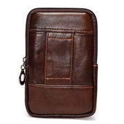 Men Geniune Leather Vintage 5.5 inch Waist Phone Bag For iphone Samsung Sony Xiaomi Huawei