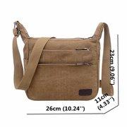 Thread Solid Crossbody Shoulder Bag Canvas Soft Surface Multi Pocket Bag For Man