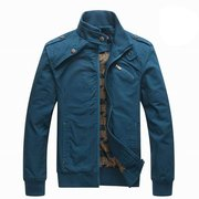 Mens Spring Fall Thin Pure Cotton Rib-knit Stand Collar Jacket Coat