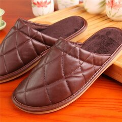 Plaid Pure Color Pu Slip On Home Slippers Indoor Shoes