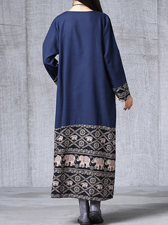 Vintage Ethnic Printed Patchwork Long Sleeve Women Robe Dress