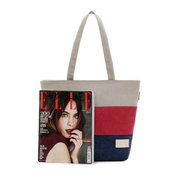 Women Casual Canvas Joint Contrast Color Tote Shopping Bag Shoulder Bag