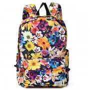 Women Canvas Casual Flower Print Backpack Travel Shopping School Bags