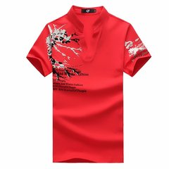 Large Size Mens Summer Tees Short sleeved Printing Stand Collar V neck T shirts