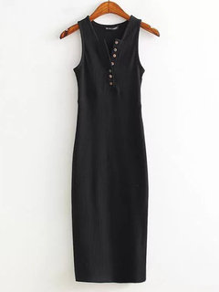 Women Casual Single Breasted V-neck Slit Sleeveless Mid-long Dress