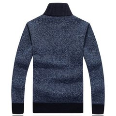 Casual Fleece Solid Color Thick Warm Stand Collar Slim Fit Knitted Sweater For Men
