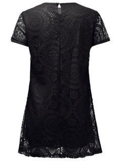 Casual Women Solid Lace Floral Hollow Out Mini Dress