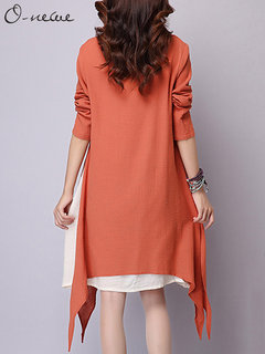 O-Newe Casual Long Sleeve Patchwork Fake-Two Piece Irregular Dress For Women