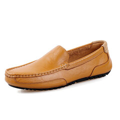 Men Leather Pure Color Lazy Slip On Flat Driving Loafers