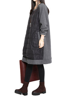 Women Pocket Loose Patchwork Long Sleeve O-neck Cotton Dress